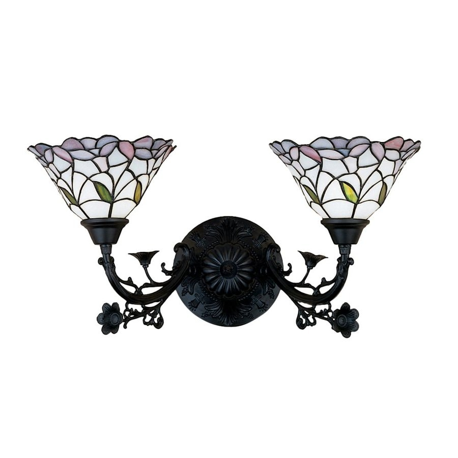 Meyda Tiffany Daffodil Bell 22-in W 2-Light Tiffany-Style Arm Hardwired Wall Sconce
