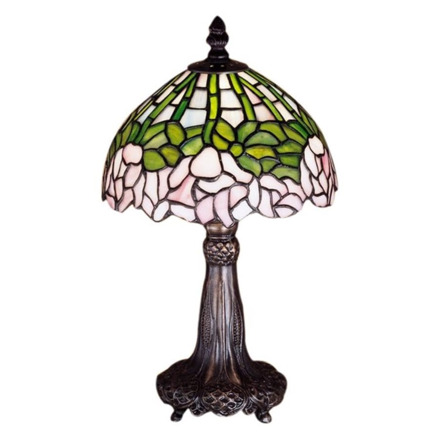 Meyda Tiffany Cabbage Rose 13 In Mahogany Bronze Electrical Outlet Table  Lamp With Glass Shade