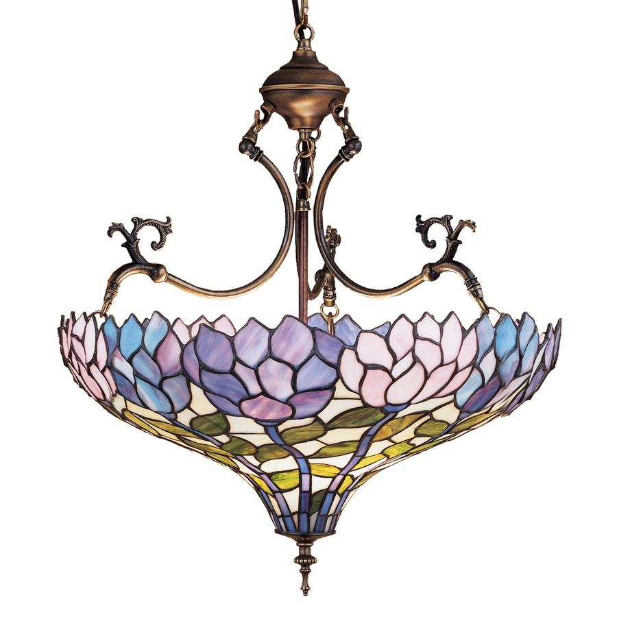 Meyda Tiffany Wisteria 20-in Mahogany Bronze Tiffany-Style Hardwired Single Stained Glass Bowl Pendant