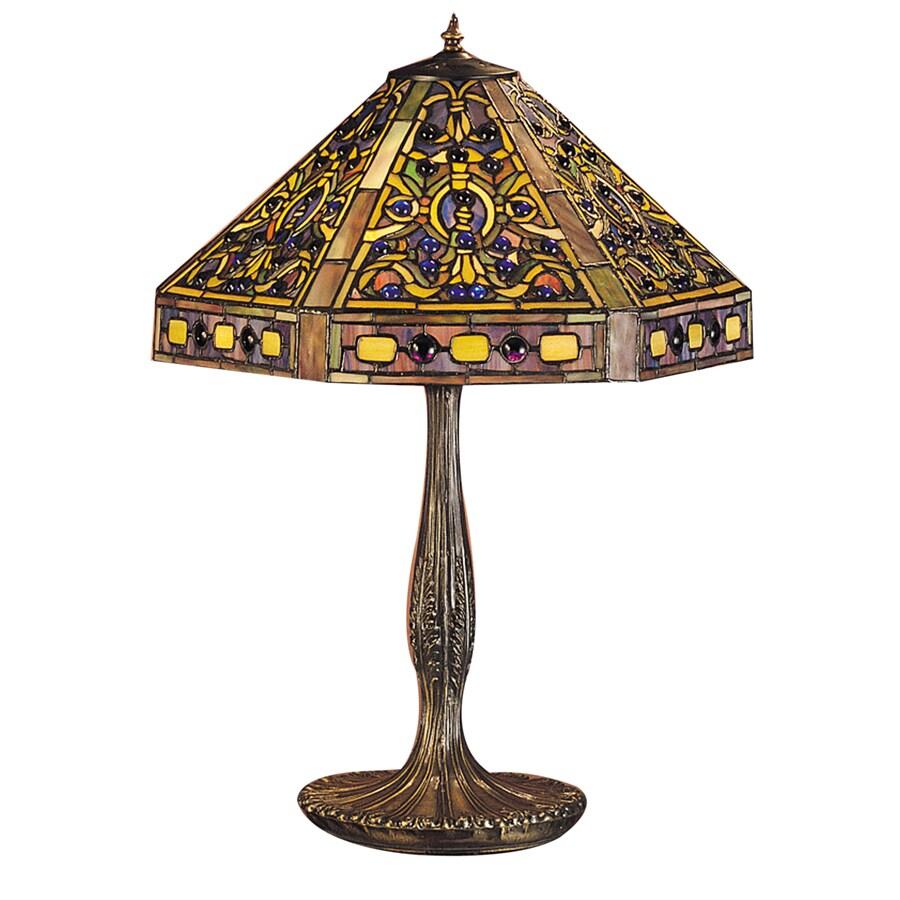 Meyda Tiffany 24-in Mahogany Bronze Tiffany-Style Table Lamp with Glass Shade