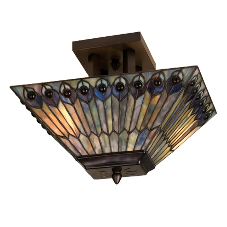 Meyda Tiffany Jeweled Peacock 10-in W Mahogany Bronze Opalescent Glass Tiffany-Style Semi-Flush Mount Light