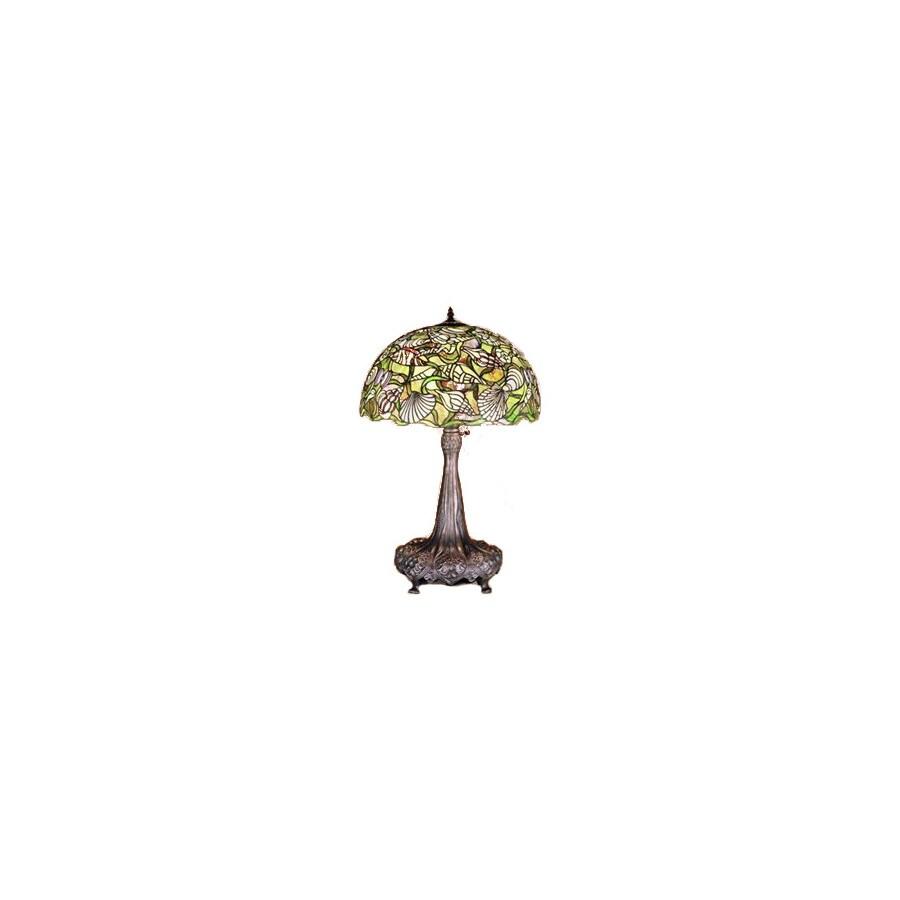 Meyda Tiffany 31-in Mahogany Bronze Tiffany-Style Table Lamp with Glass Shade