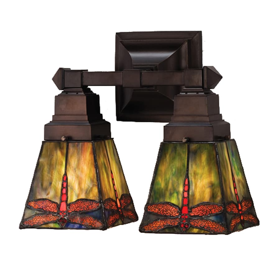 Meyda Tiffany Prairie 12-in W 2-Light Mahogany Bronze Tiffany-Style Arm Hardwired Wall Sconce