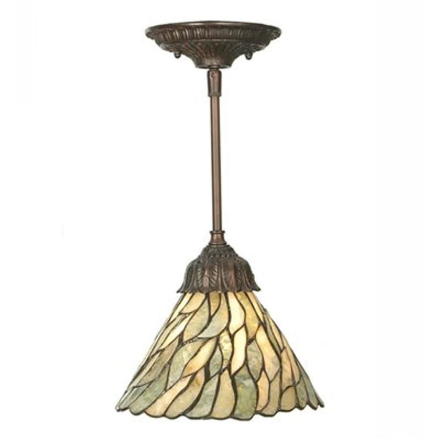 Meyda Tiffany Jadestone Willow 8-in Mahogany Bronze Tiffany-Style Hardwired Mini Stained Glass Cone Pendant
