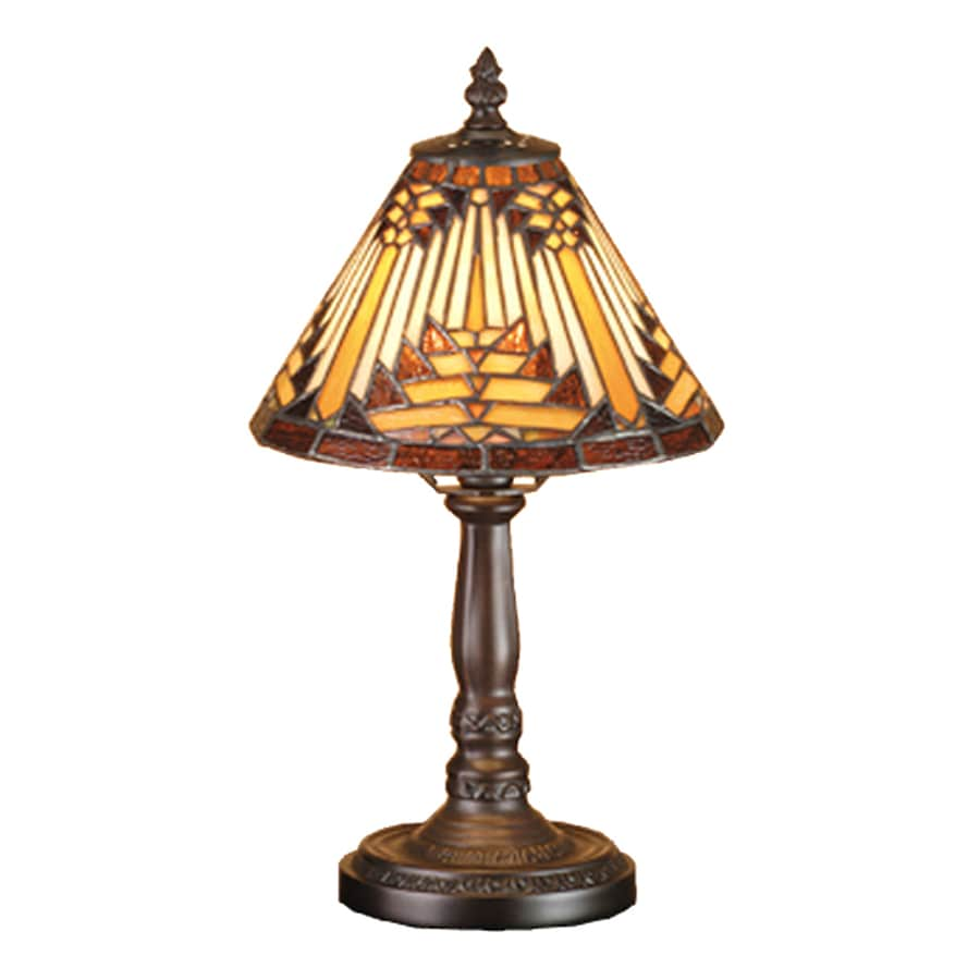Meyda Tiffany Navajo 14-in Mahogany bronze  Electrical Outlet Table Lamp with Glass Shade