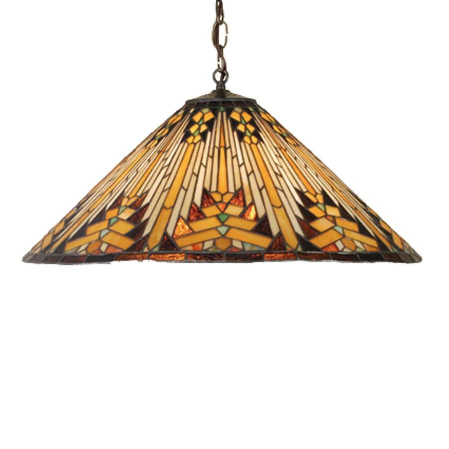 Meyda Tiffany Navajo 22-in Mahogany Bronze Tiffany-Style Hardwired Single Stained Glass Cone Pendant