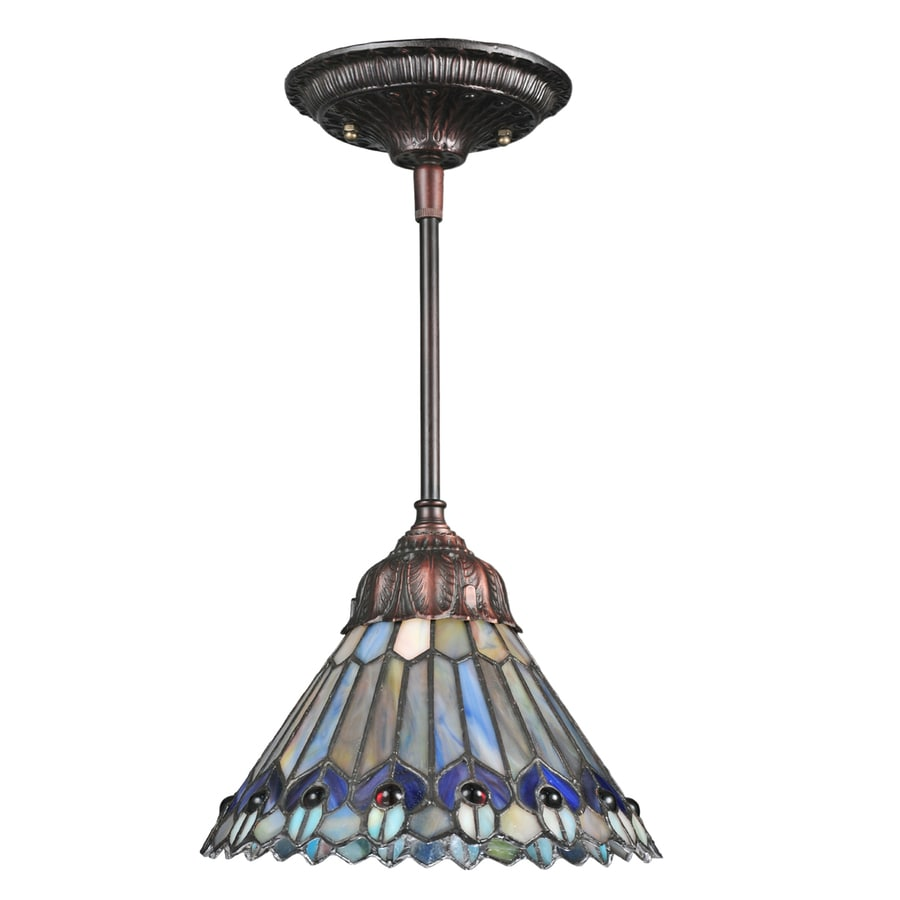 tiffany style pendant light fixture. Meyda Tiffany Jeweled Peacock 8-in Mahogany Bronze Tiffany-Style Hardwired Mini Stained Glass Style Pendant Light Fixture