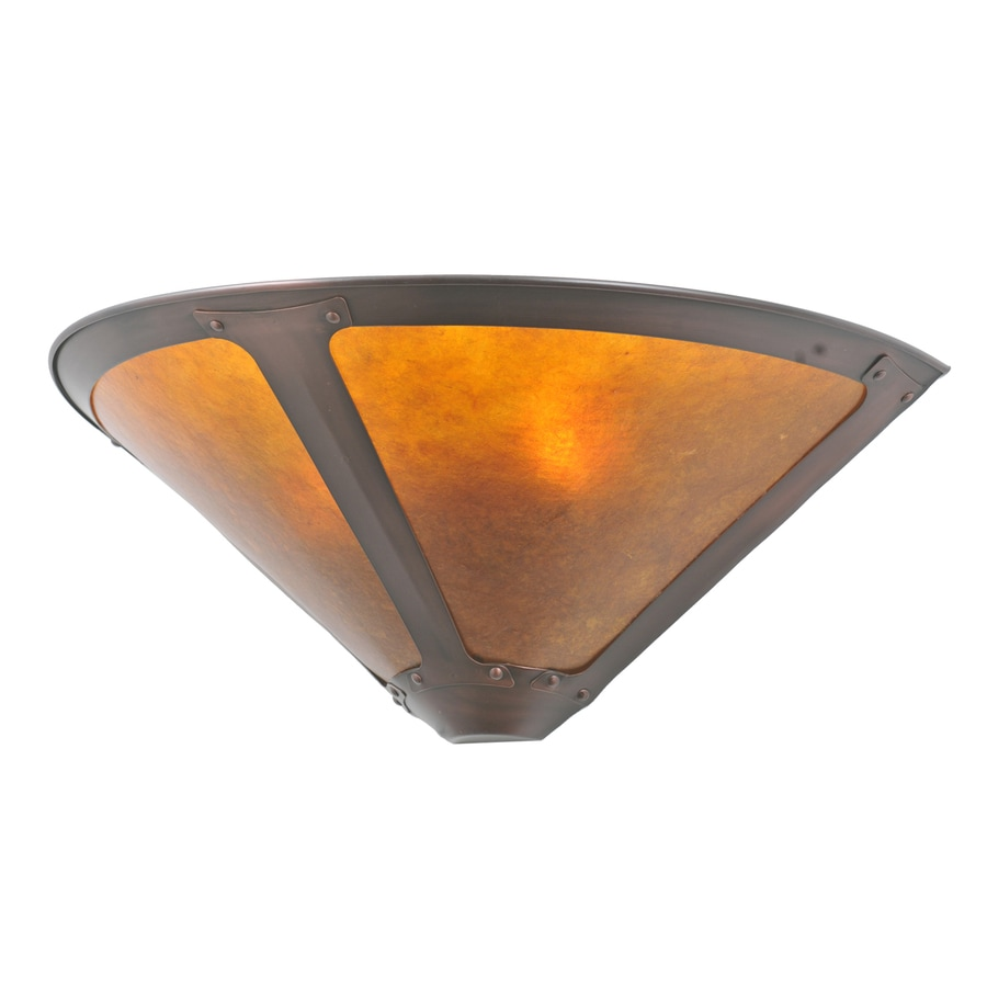 Meyda Tiffany Dirk Van Erp 17-in W 1-Light Mahogany Bronze Pocket Wall Sconce