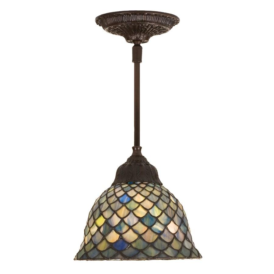 Meyda Tiffany Fishscale 8-in Mahogany Bronze Tiffany-Style Hardwired Mini Stained Glass Bell Pendant