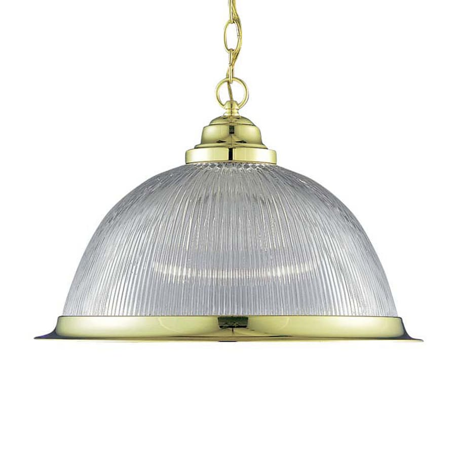 Volume International Roth 17-in Polished Brass Single Ribbed Glass Dome Pendant