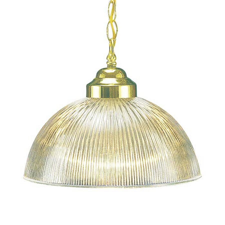 Volume International 12-in Polished Brass Single Ribbed Glass Dome Pendant