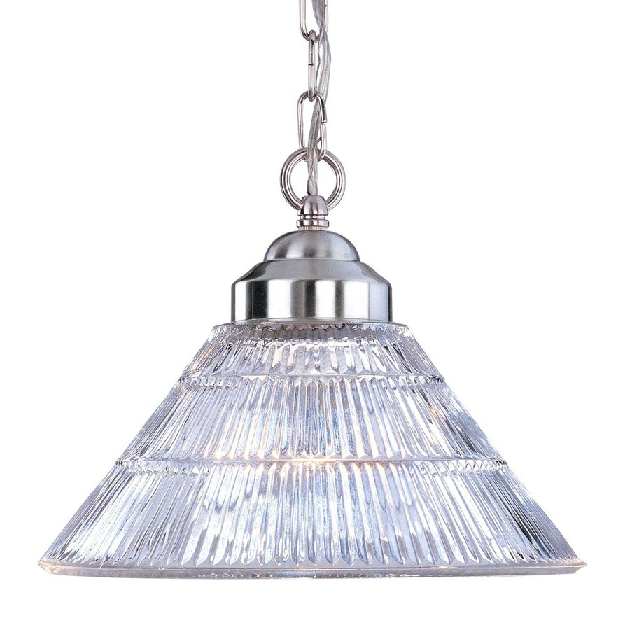 Volume International 12-in Brushed Nickel Single Ribbed Glass Cone Pendant