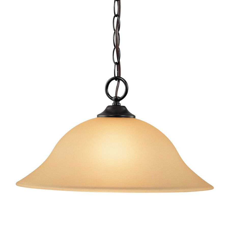 Volume International Hammond 15.25-in Antique Bronze Single Tinted Glass Bell Pendant