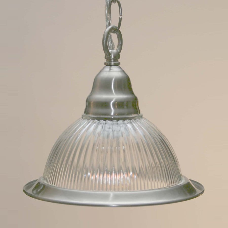 Volume International 7.5-in Brushed Nickel Vintage Mini Ribbed Glass Warehouse Pendant