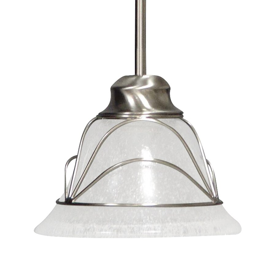 Volume International Rhodes 8-in Brushed Nickel Vintage Mini Seeded Glass Bell Pendant