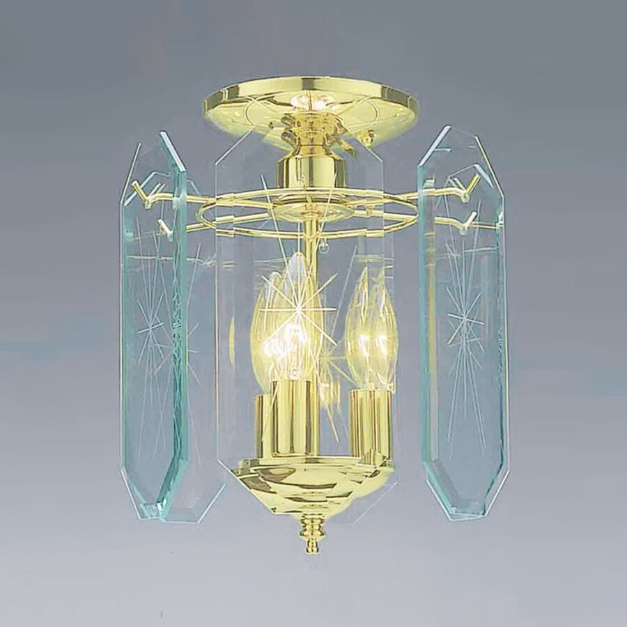 Volume International 9.5-in W Polished Brass Clear Glass Semi-Flush Mount Light