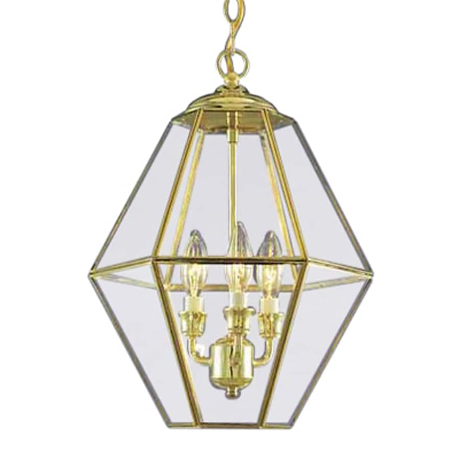 Volume International 13-in Polished Brass Vintage Single Clear Glass Lantern Pendant