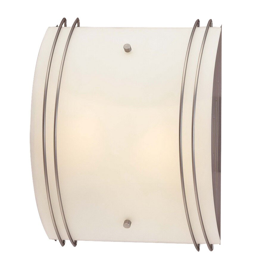 Volume International 10-in W 2-Light Brushed Nickel Art Glass Pocket Hardwired Wall Sconce