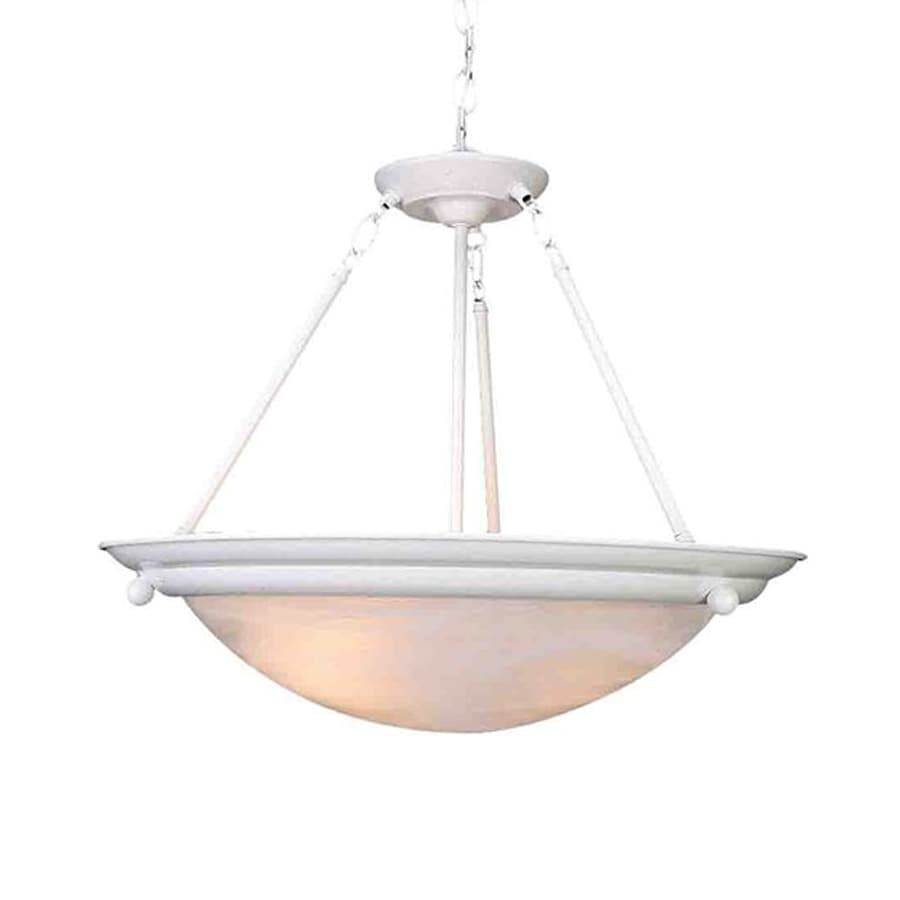 Volume International Lunar 15.5-in Textured White Vintage Single Alabaster Glass Bowl Pendant