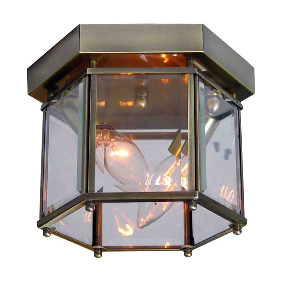 Volume International 8-in W Antique Brass Ceiling Flush Mount Light