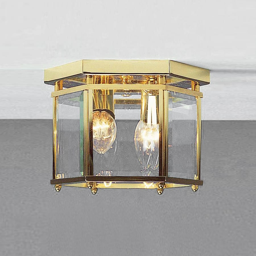 Volume International 8-in W Polished Brass Ceiling Flush Mount Light