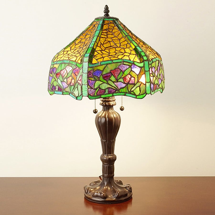 Warehouse of Tiffany Leaves 25-in Bronze Tiffany-Style Table Lamp with Glass Shade