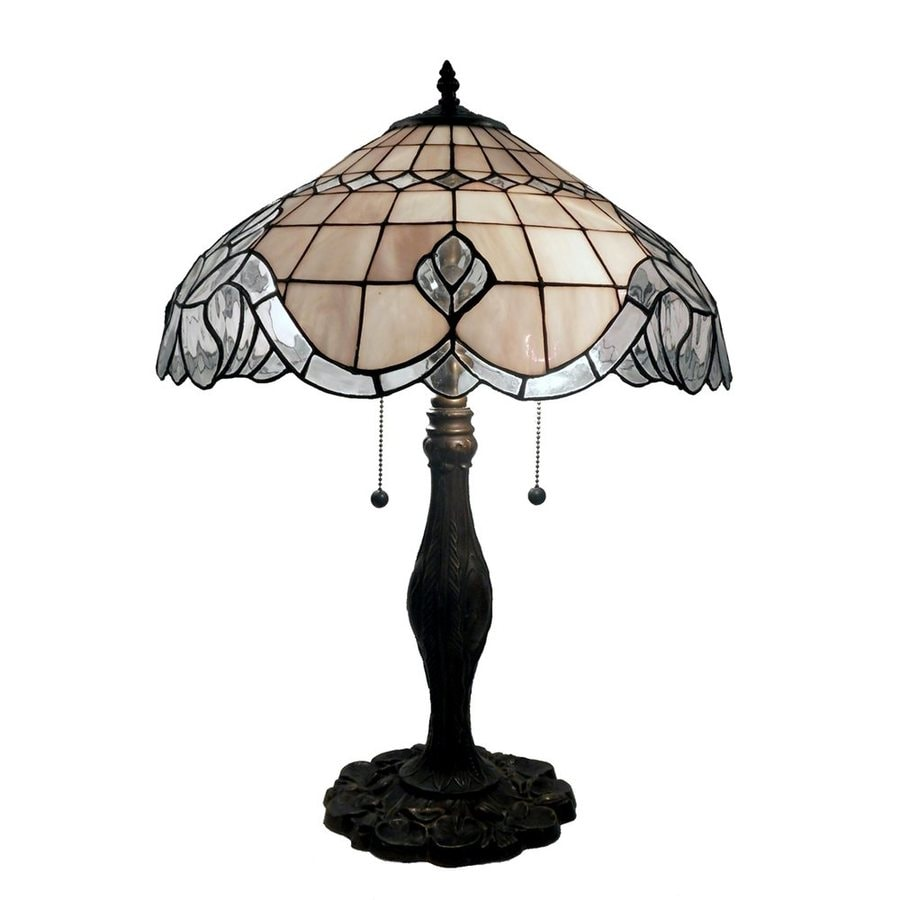 Warehouse of Tiffany Baroque 22-in Bronze  Electrical Outlet Table Lamp with Glass Shade