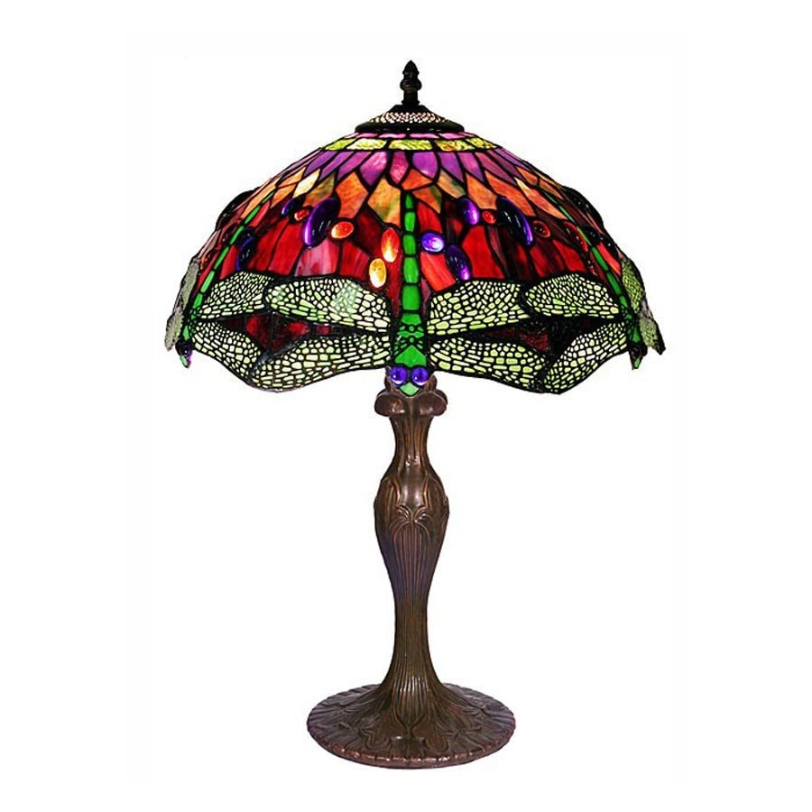 Warehouse of Tiffany Dragonfly 24-in  Electrical Outlet  Table Lamp with Glass Shade
