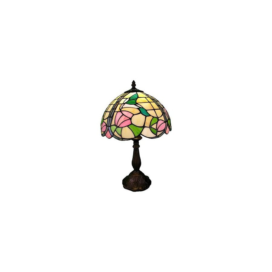 Warehouse of Tiffany 18-in Bronze Tiffany-Style Table Lamp with Glass Shade