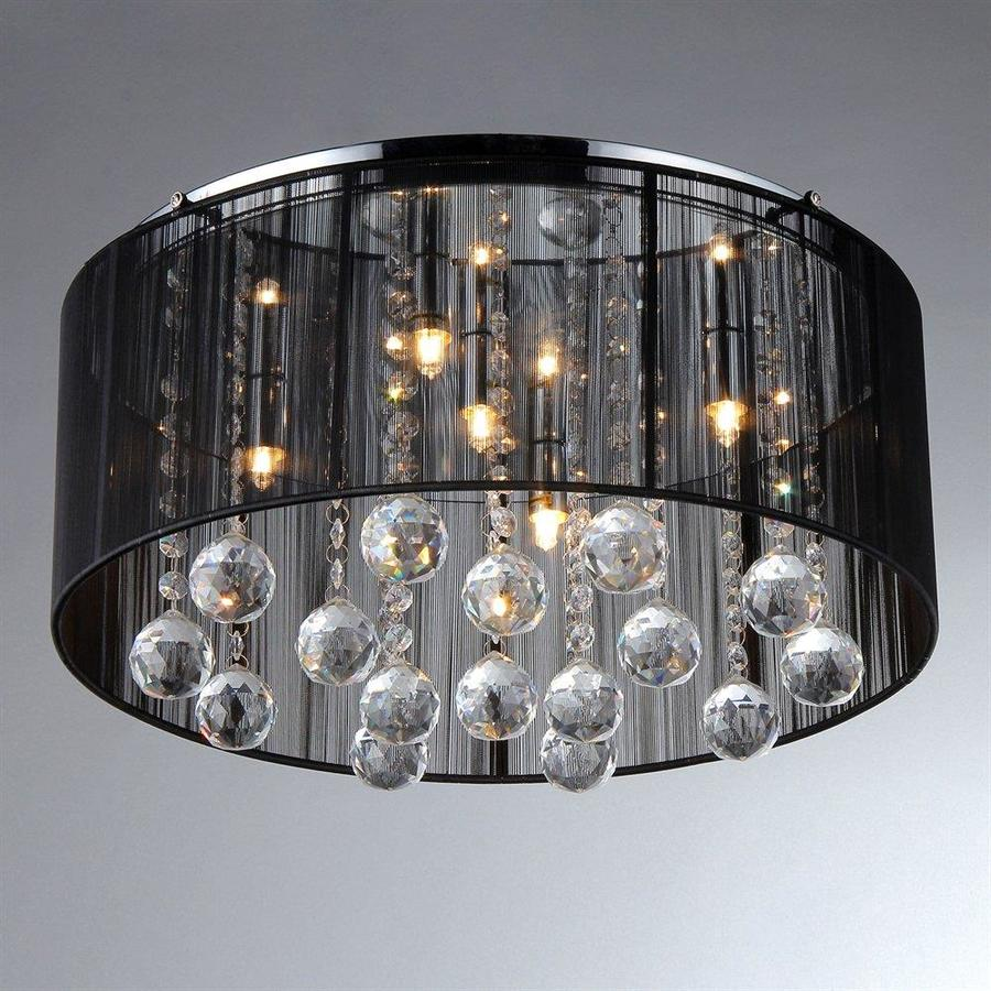 of tiffany crystal 17 in w chrome flush mount light at. Black Bedroom Furniture Sets. Home Design Ideas