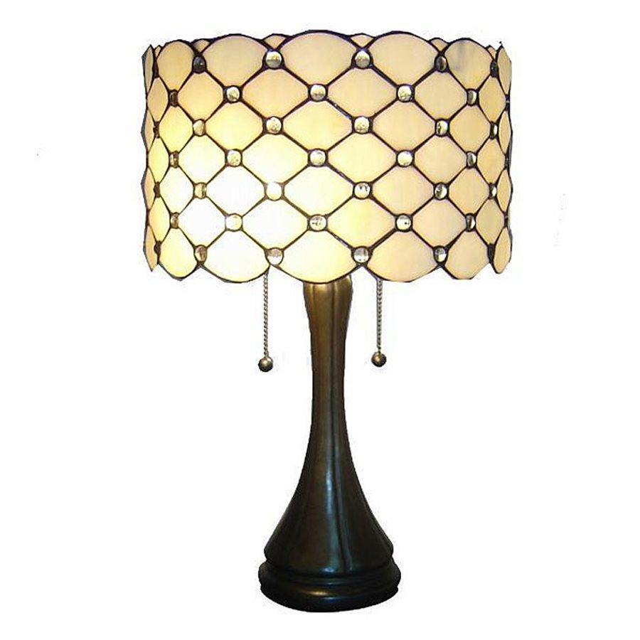 Warehouse of Tiffany 22-in  Electrical Outlet Table Lamp with Glass Shade
