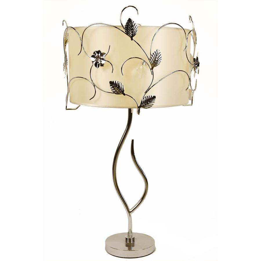 Warehouse of Tiffany 30-in Chrome Table Lamp with Fabric Shade