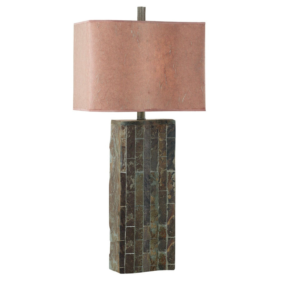 Kenroy Home Ripple Slate 31.5-in Natural slate Plug-In 3-way Table Lamp with Paper Shade