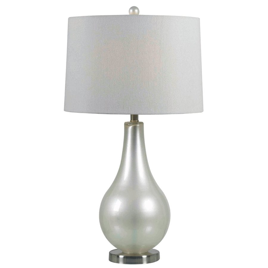Kenroy Home Teardrop 29.25-in Metallic pewter Plug-In 3-way Table Lamp with Fabric Shade