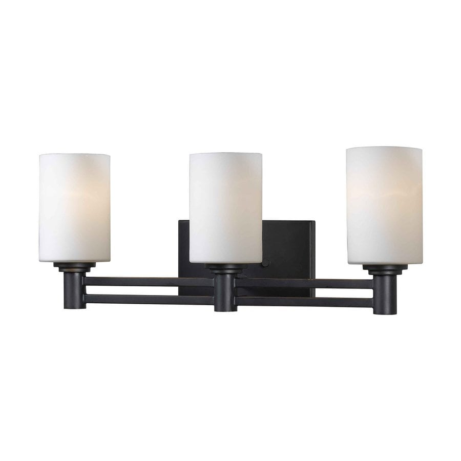 Kenroy Home Slender 3-Light 9-in Oil-Rubbed Bronze Cylinder Vanity Light