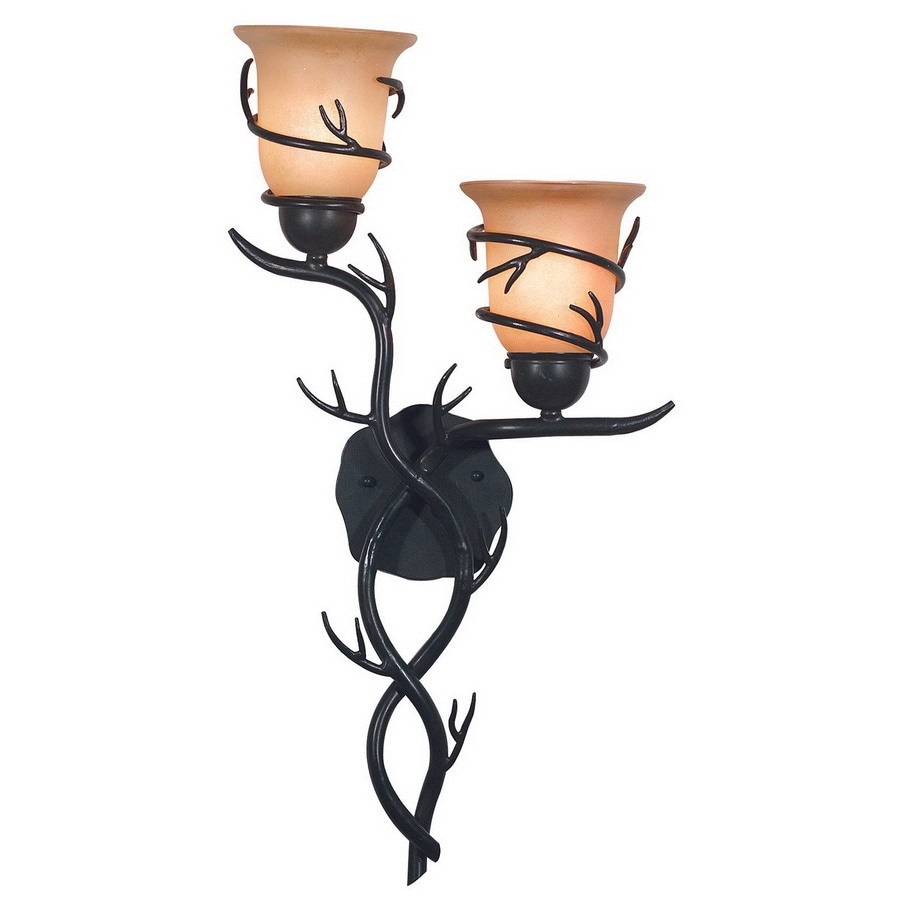 Kenroy Home Twigs 14-in W 2-Light Bronze Arm Hardwired Wall Sconce