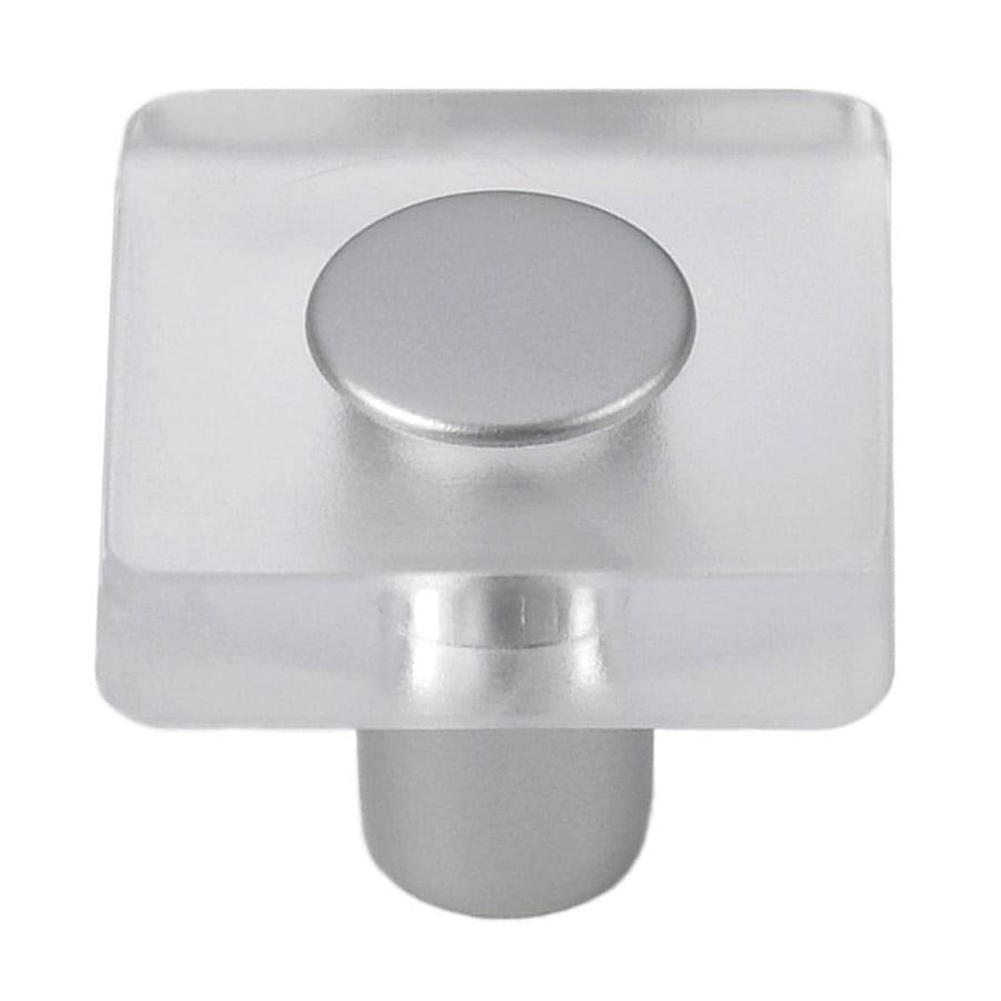 Siro Designs Decco Clear/Matte Aluminum Square Cabinet Knob