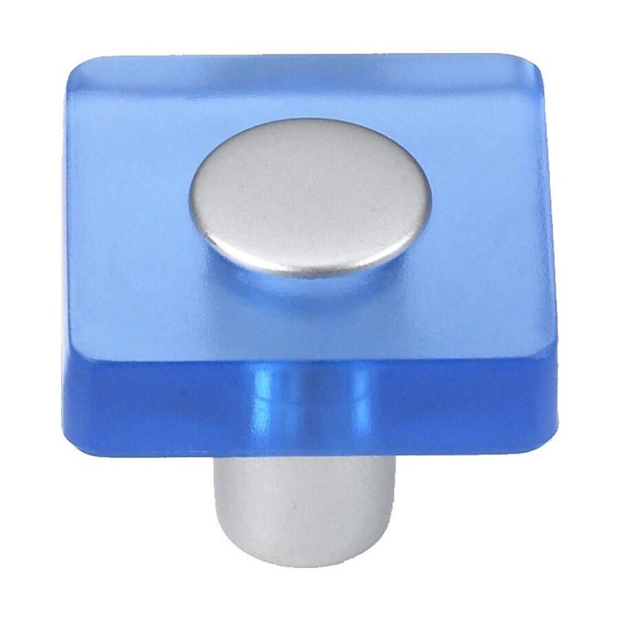 Siro Designs Decco Blue/Matte Aluminum Square Cabinet Knob