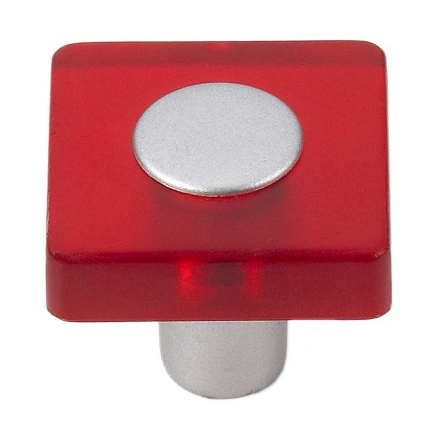 Siro Designs Decco Red/Matte Aluminum Square Cabinet Knob