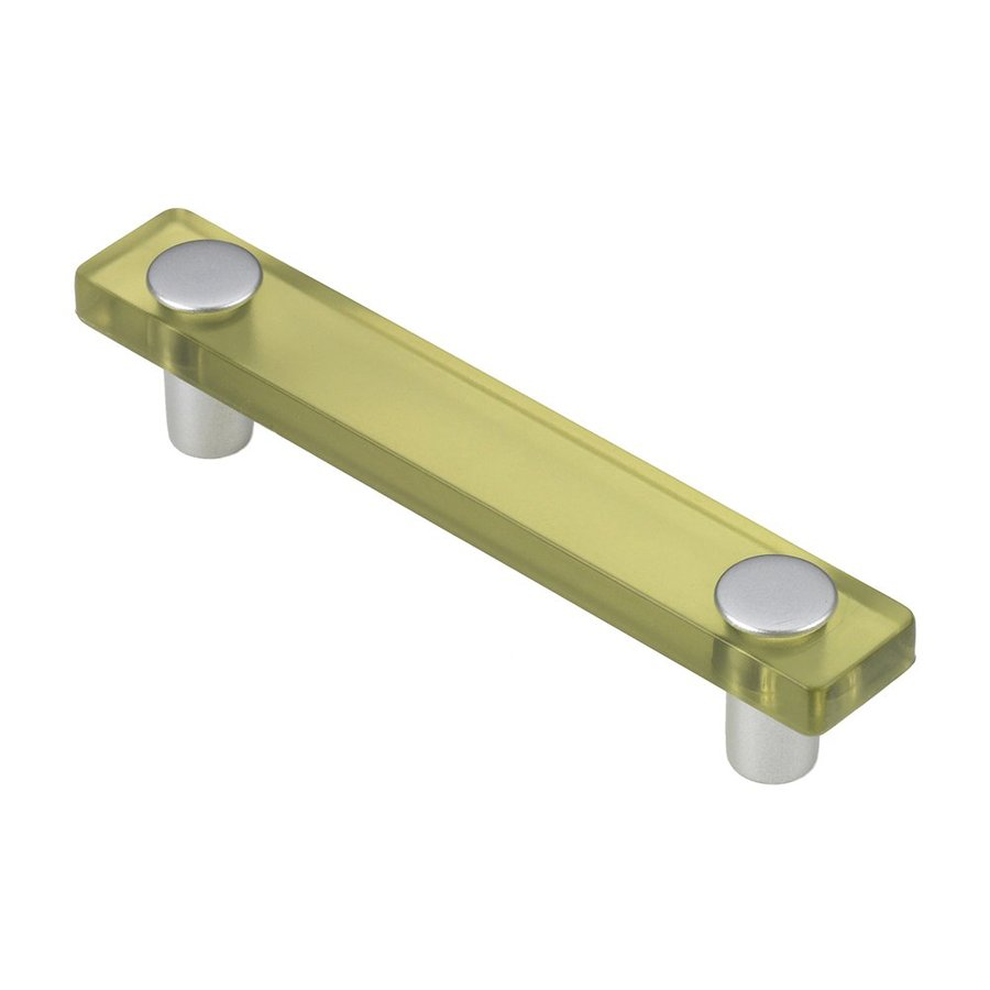 Siro Designs 3-3/4-in Center-To-Center Olive Green/Matte Aluminum Decco Rectangular Cabinet Pull