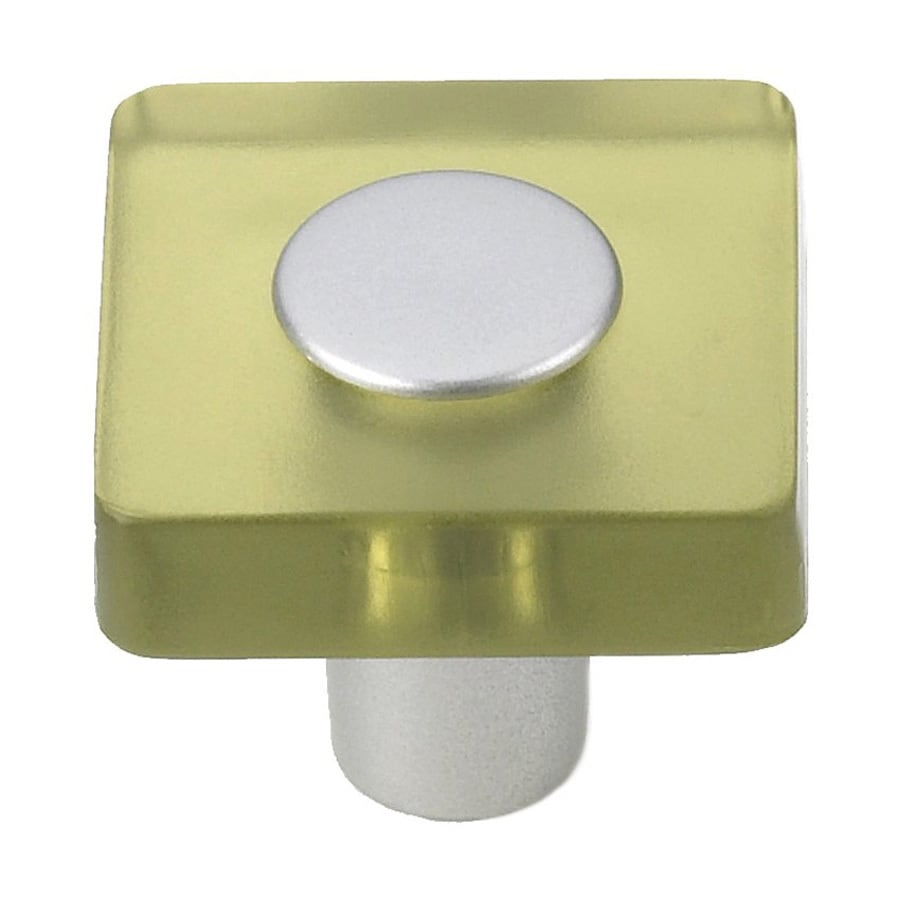 Siro Designs Decco Olive Green/Matte Aluminum Square Cabinet Knob