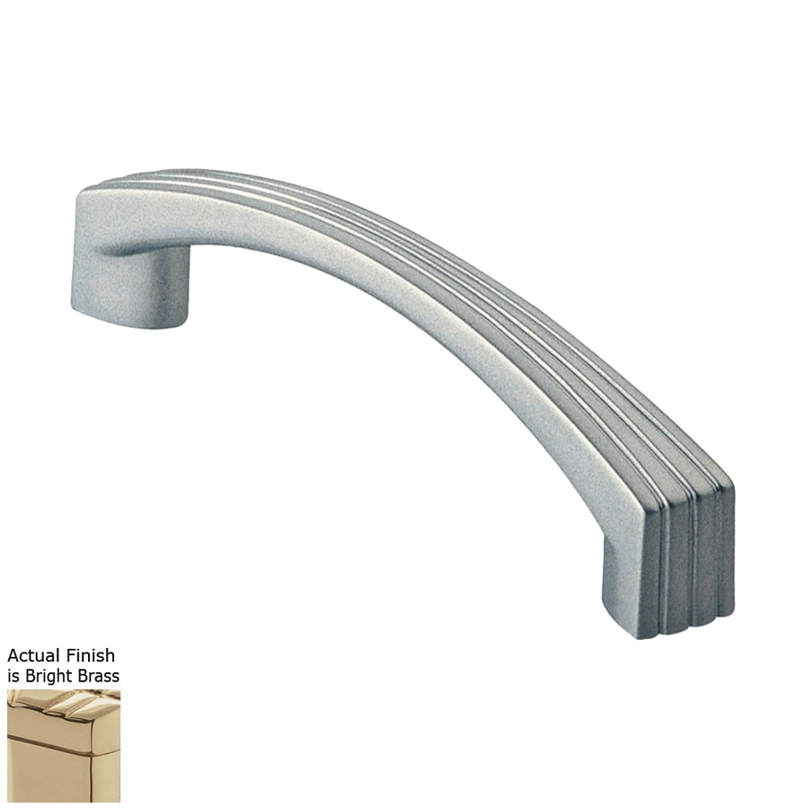 Siro Designs 5-in Center-To-Center Bright Brass Dots and Stripes Arched Cabinet Pull