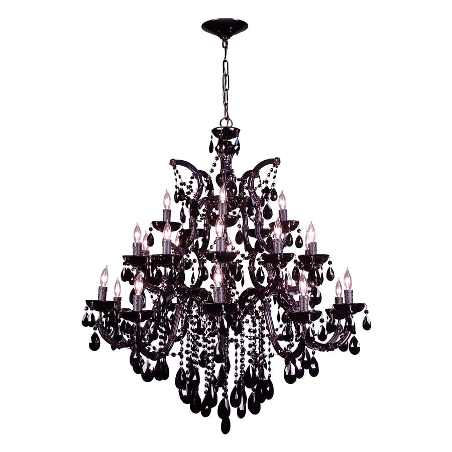 Classic Lighting Rialto 38-in 25-Light Black On Black Crystal Tiered Chandelier