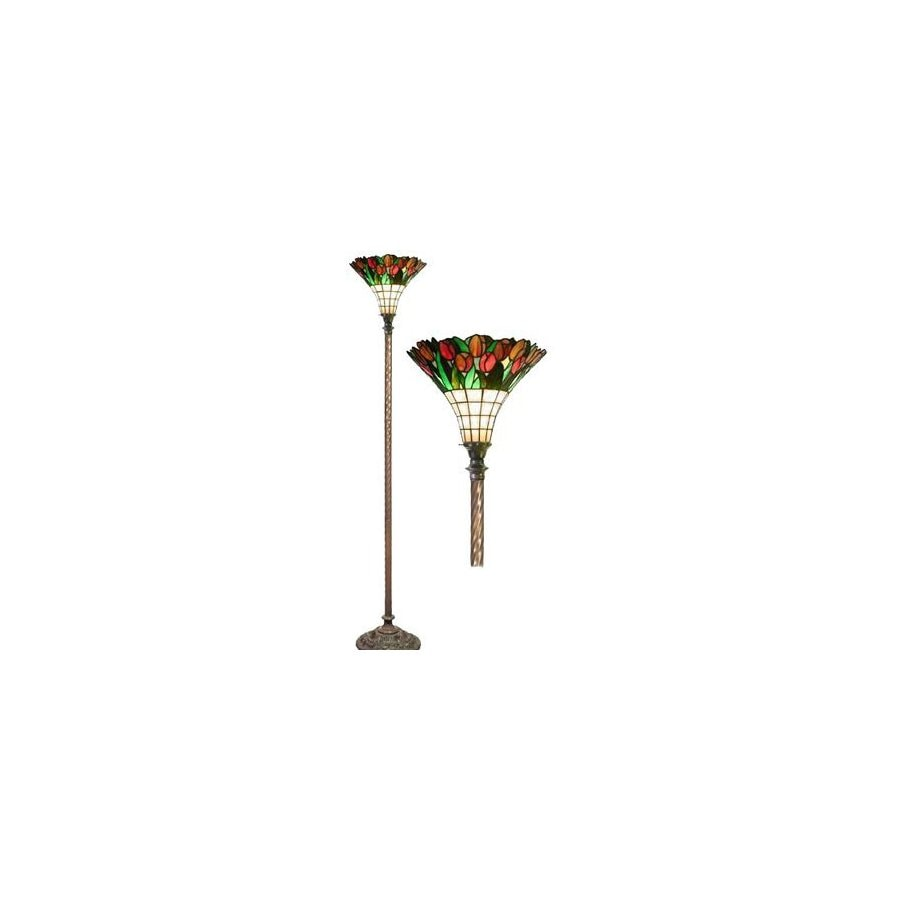 Warehouse of Tiffany Tulip 72-in Zinc Tiffany-Style Torchiere Indoor Floor Lamp with Glass Shade