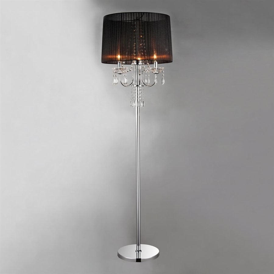 Warehouse of Tiffany 58-in Chrome Crystal Accent Torchiere Indoor Floor Lamp with Fabric Shade