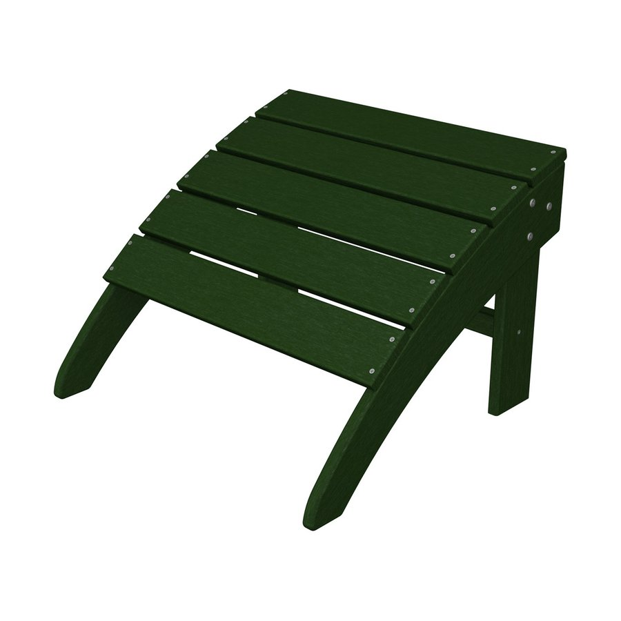 POLYWOOD South Beach Green Plastic Ottoman