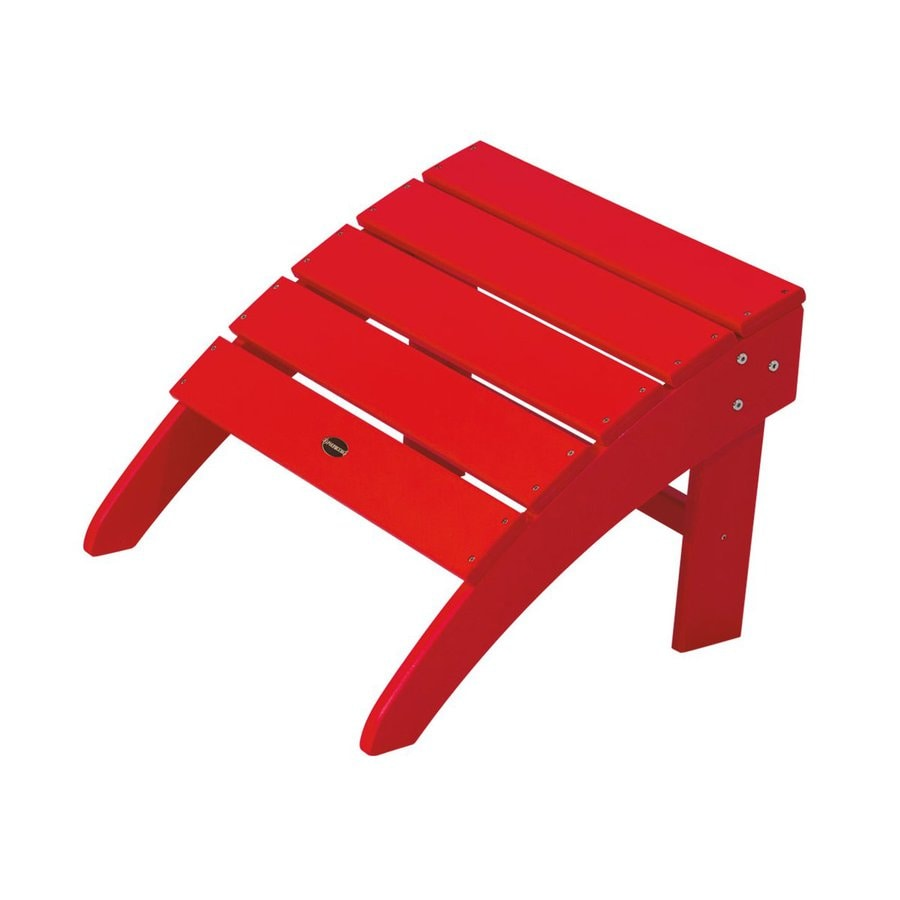 POLYWOOD South Beach Sunset Red Plastic Ottoman