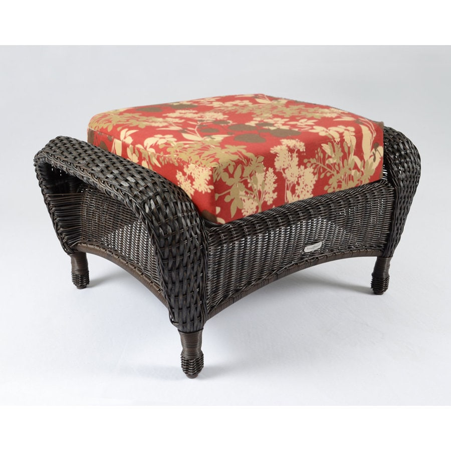 Tortuga Outdoor Lexington Tortoise/Montfleuri Sangria Wicker Ottoman