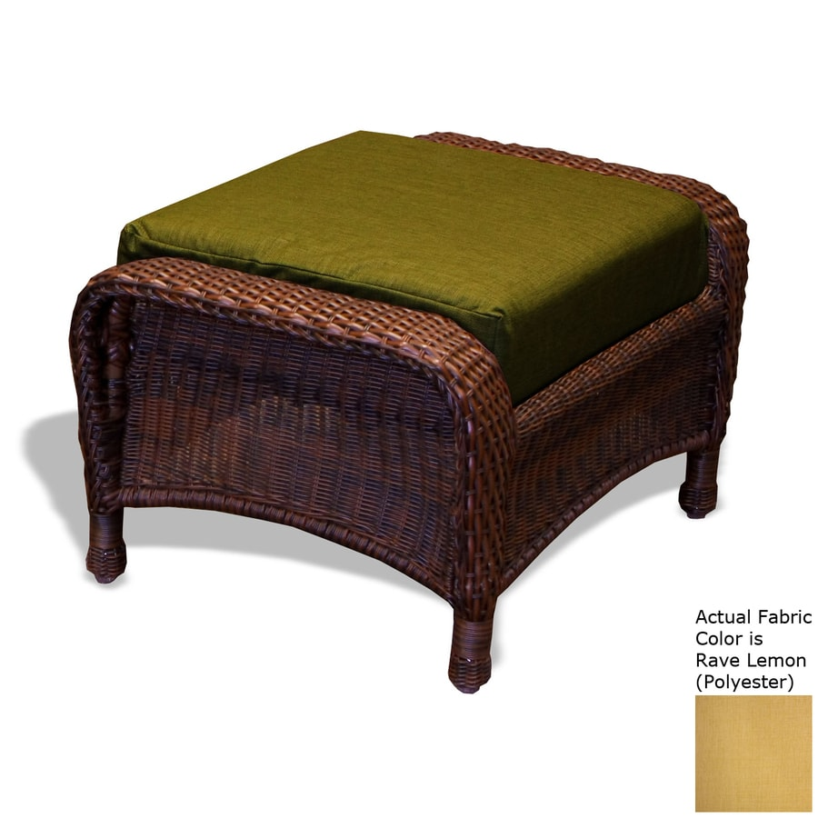 Tortuga Outdoor Lexington Tortoise/Rave Lemon Wicker Ottoman