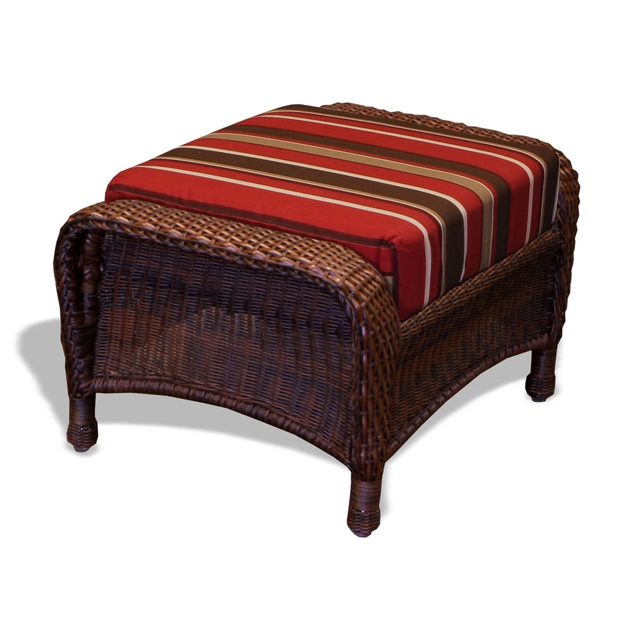 Tortuga Outdoor Lexington Java/Monserrat Sangria Wicker Ottoman